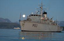 """Priešmininis laivas """"Skalvis"""" treniravosi pratybose prie Škotijos krantų"""