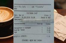 Sostinės širdyje esančioje kavinėje – kasos kvitai rusų kalba
