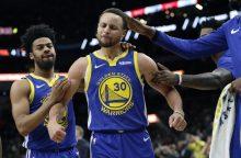Krepšininkas S. Curry pataikė tolimiausią sezono metimą