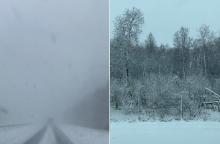 Dėmesio: kelyje Kaunas-Klaipėda – sniegas ir sudėtingos eismo sąlygos