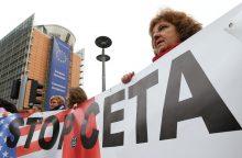 Vilniuje protestuojama prieš prekybos sutartį su Kanada
