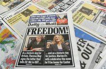 """Euroskeptiška Britanijos spauda džiaugiasi """"Brexit"""" pažadėtomis laisvėmis"""