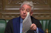 """Britų parlamento pirmininkas: vyriausybė negali siūlyti tos pačios """"Brexit"""" sutarties"""