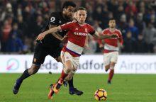 """Anglijos futbolo pirmenybėse – sunki """"Middlesbrough"""" pergalė"""
