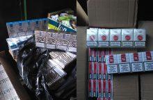 Garažų masyve rastos kontrabandinės cigaretės